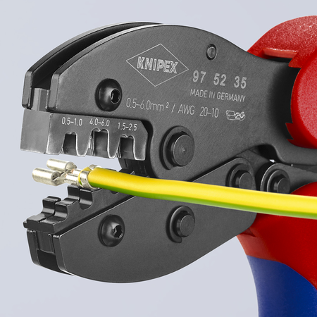 KNIPEX PreciForce Crimping Pliers for non-insulated open plug type connectors (plug width 4.8 + 6.3 mm)